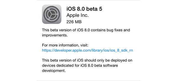 Ya disponible la Beta 5 de iOS 8
