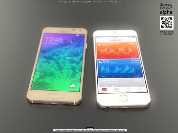 Así luciría el iPhone 6 comparado con el Samsung Galaxy Alpha