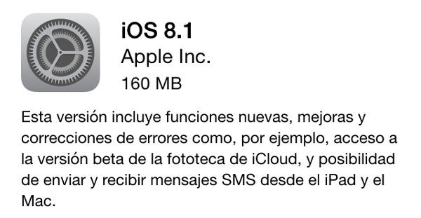 iOS 8.1 ya está disponible para su descarga