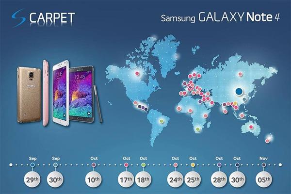 Samsung da a conocer las fechas de salida del Samsung Galaxy Note 4