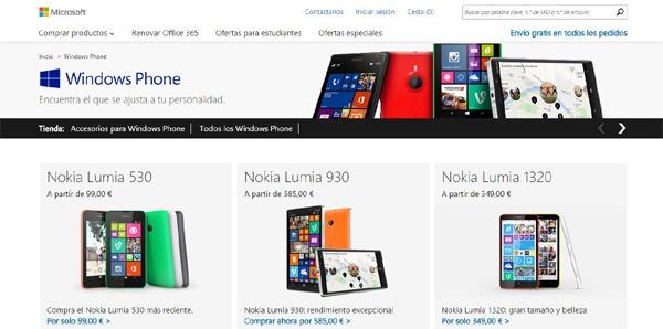 Microsoft Store España ya permite adquirir móviles y accesorios de la gama Lumia