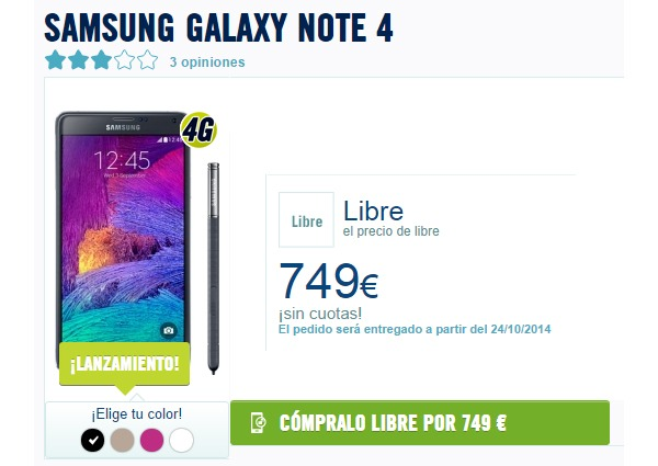 Samsung Galaxy Note 4, ya disponible con The Phone House
