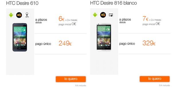 HTC Desire 610 y HTC Desire 816, precios y tarifas con Orange