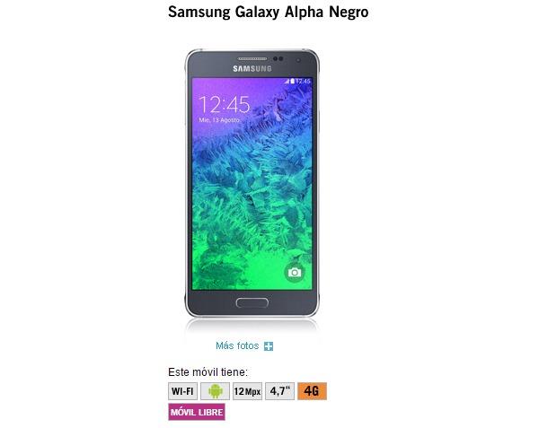 Samsung Galaxy Alpha, precios y tarifas con Yoigo