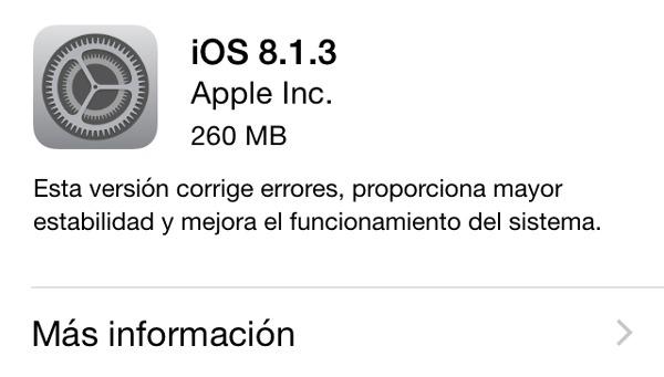 Ya disponible la actualización de iOS 8.1.3