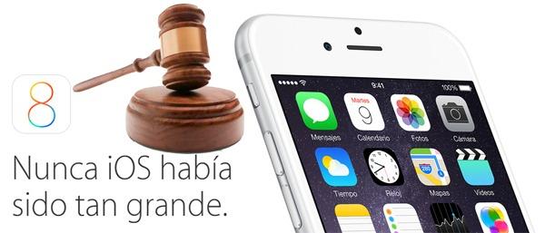 Apple se enfrenta a un juicio por el espacio que ocupa la actualización de iOS 8