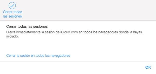 Cómo cerrar todas las sesiones abiertas en iCloud