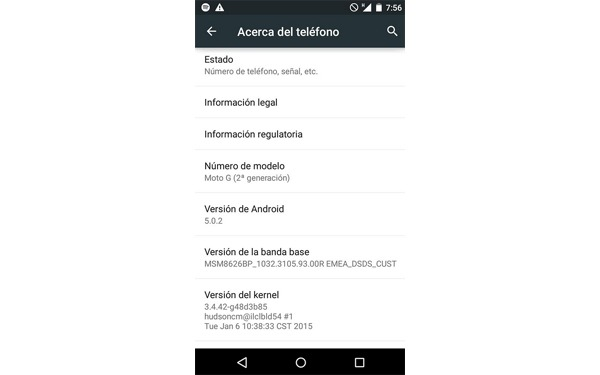Android lollipop moto g segunda generacion