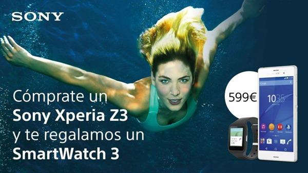Sony Xperia Z3 con SmartWatch 3 por 600 euros durante mayo