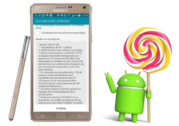 Android 5.0 Lollipop en el Samsung Galaxy Note 4, detalles de la actualización