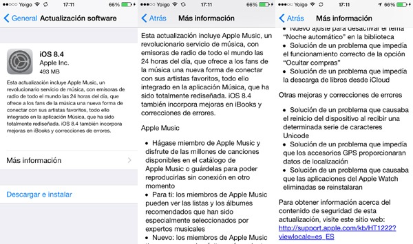 iOS 8.4 ya está disponible para su descarga
