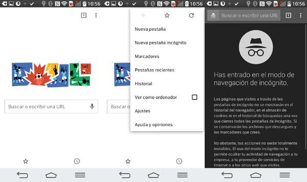 Navegar en incógnito en Android