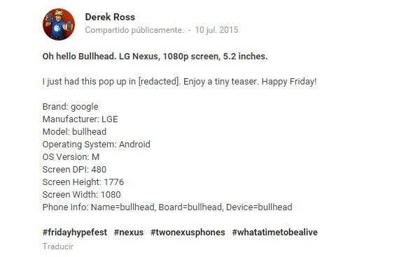 Nueva filtración del Nexus 5 (2015)