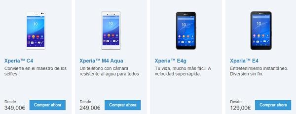 3 móviles de Sony por menos de 450 euros