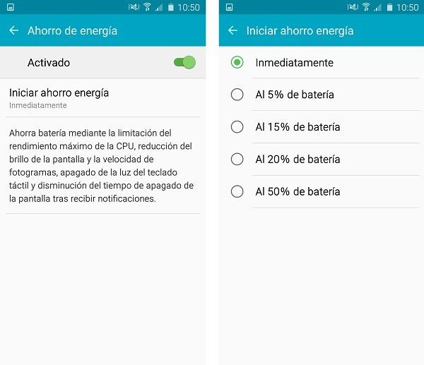 Samsung Galaxy A5 2016 modo ahorro energia