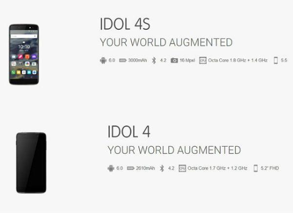 Se filtran todas las especificaciones del Alcatel Idol 4 y 4S