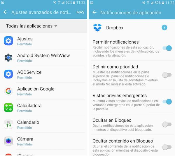 Notificaciones Samsung Galaxy S7