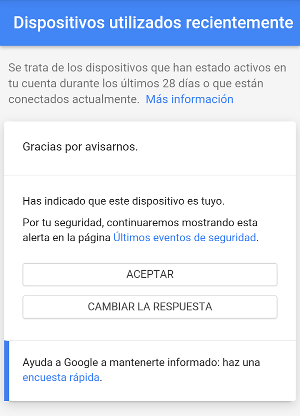 aviso seguridad google