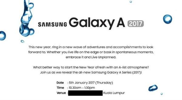 Samsung Galaxy A 2017 enero(mes del año) invitación