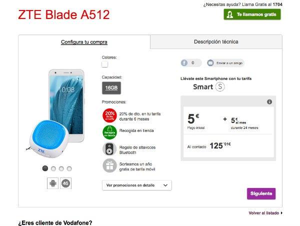 ZTE Blade A512 precios Vodafone