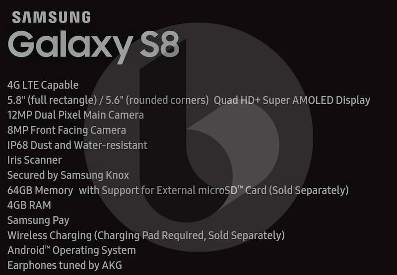 Especificaciones Galaxy™ S8