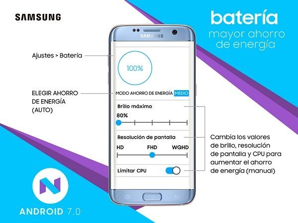 samsung galaxy s7 batería android 7