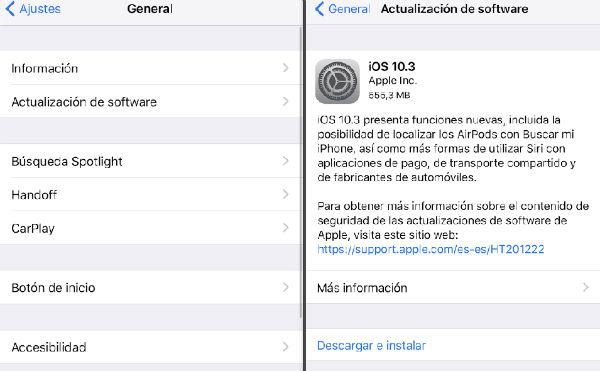 iOS 10.3 instalación
