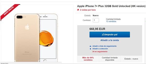 Consigue un iPhone siete Plus por 200 euros menos en eBay