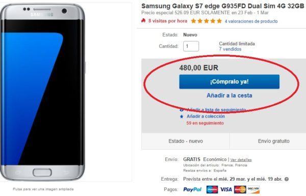 Consigue un Samsung Galaxy S7 Edge por 480 euros en eBay