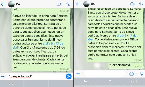 WhatsApp ios negrita