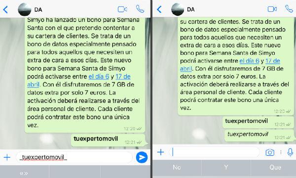 WhatsApp cursiva iOS