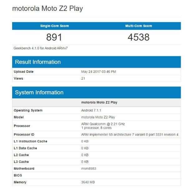 Moto Z2 Play caracteristicas