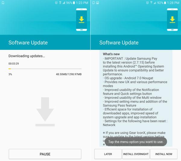 actualizacion a <stro />Android℗</strong> 7 del Samsung℗ Galaxy℗ Note 5 espacio&#8221; width=&#8221;600&#8243; height=&#8221;533&#8243; srcset=&#8221;https://www.tuexpertomovil.com/wp-content/uploads/2017/05/Samsung_Galaxy_Note_5_se_actualiza_a_Android_7_02.jpg 600w, https://www.tuexpertomovil.com/wp-content/uploads/2017/05/Samsung_Galaxy_Note_5_se_actualiza_a_Android_7_02-300&#215;267.jpg 300w&#8221; sizes=&#8221;(max-width: 600px) 100vw, 600px&#8221; /></p> <p>Algo interesante a tener en cuenta cuando llegue la actualización a España. Si utilizamos Samsung℗ Pay, <strong>es indispensable actualizar la app antes de instalar <strong>Android℗</strong> 70. Nougat</strong> en vuestro Samsung℗ Galaxy℗ Note 5.</p> <p>Por otro lado,siempre es <strong>recomendable continuar unos consejos básicos</strong>:</p> <ul> <li>Lo 1.º es, como decíamos, asegurarnos de <strong>tener espacio suficiente</strong>.</li> <li>Lo segundo, siempre es mejor actualizar <strong>con la batería llena y el movil conectado a la corriente eléctrica</strong>. Si el movil se apaga en medio de la actualización podría quedar inutilizado.</li> <li>Tercero, <strong>mejor estar conectado al WiFi</strong> que utiliza datos(info) móviles. Primero porque casi seguro que la conexión será más rápida. Y 2.º porque la actualización ocupa más de 1 GB que volarán de nuestra tasa de datos.</li> <li>Por último, una vez hayamos actualizado, no estaría de más hacer un <strong>reset de fábrica</strong>. Sabemos que esto puede llegar a ser un trauma, pero si hacemos una copia de seguridad luego podremos restaurar el movil a su estado anterior. Así conseguiremos una mayor fluidez al eliminar componentes innecesarios.</li> </ul> <h3>¿Qué logramos esperar de la nueva versión?</h3> <p><img class=