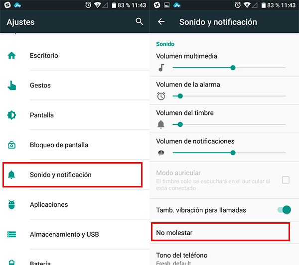 configurar notificaciones android configurar no molestar