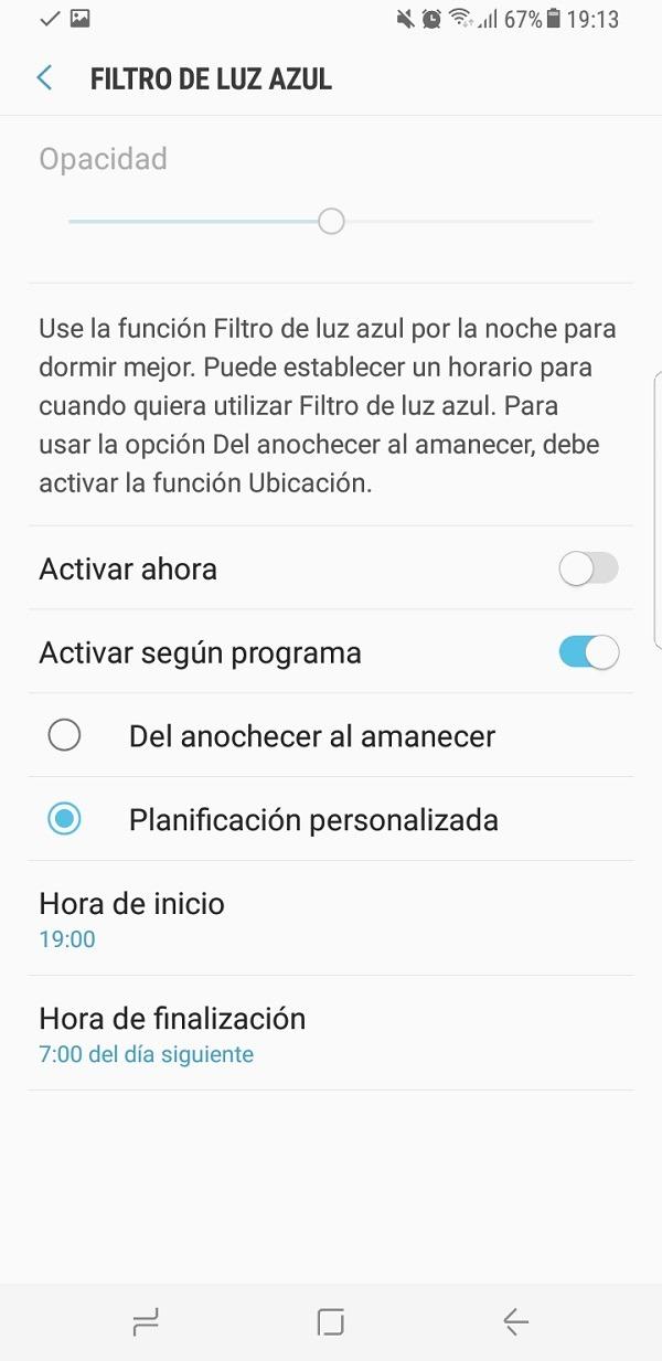 Filtro de luz azul del Samsung Galaxy S8
