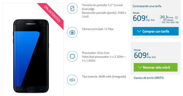 ofertas Samsung Galaxy S7 edge movistar