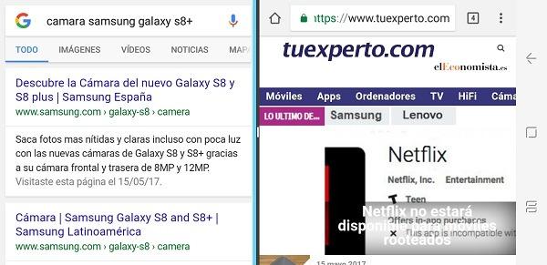 Multiventana en el Samsung Galaxy S8+