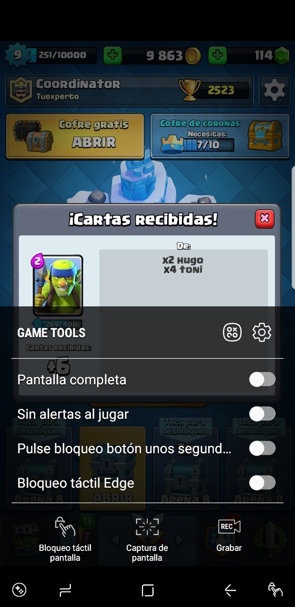 Game tools en el Samsung Galaxy S8+