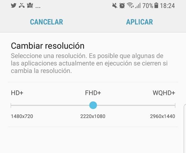 Cambiar resolución de pantalla en el Samsung Galaxy S8