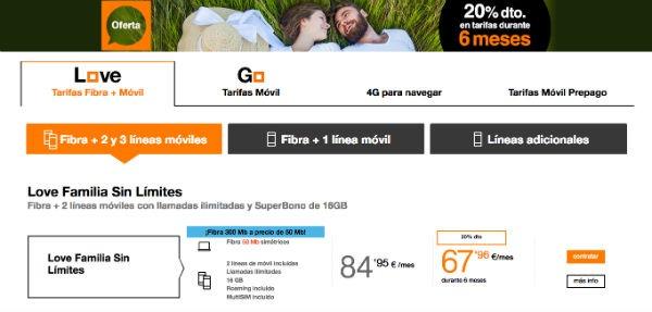 4f9240f90fd Si se opta por contratar tres líneas de móvil con la fibra de Orange, habrá  que echarle un ojo a la tarifa Love Familia Total.