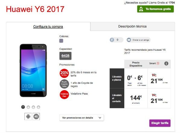 Huawei Y6 2017 con Vodafone