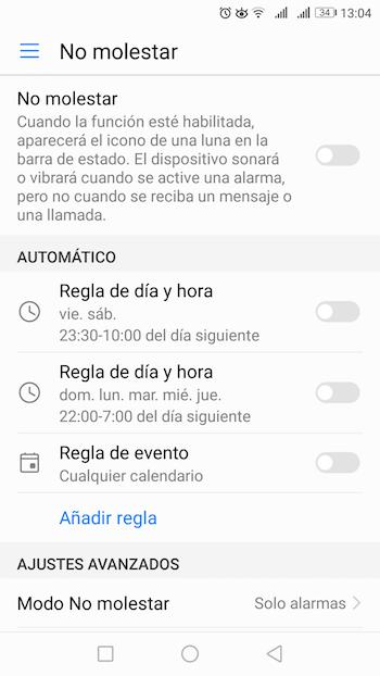 modo no molestar ajustes android