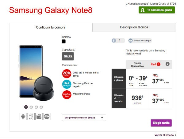 Samsung Galaxy™ Note ocho Vodafone