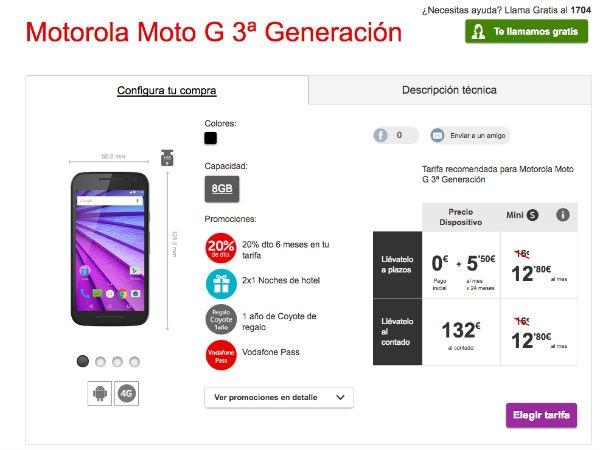 Moto G tercera generación Vodafone