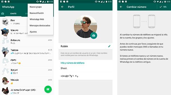 Cambiar numero de WhatsApp