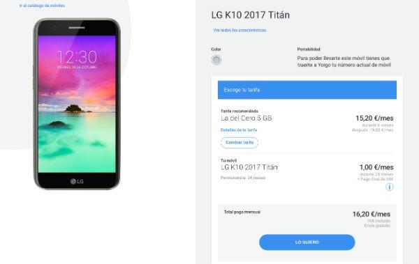 LG K10 2017 Yoigo
