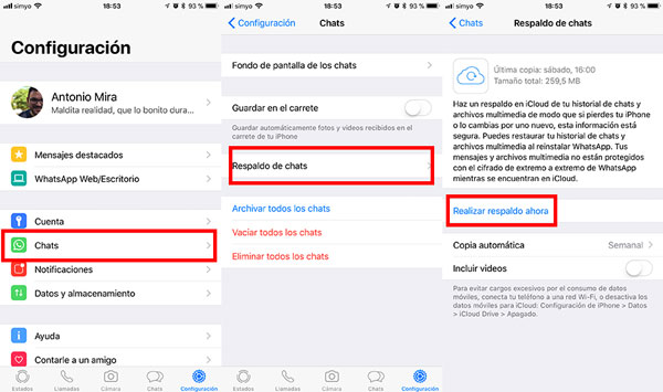 como transferir conversaciones WhatsApp al iPhone X backup