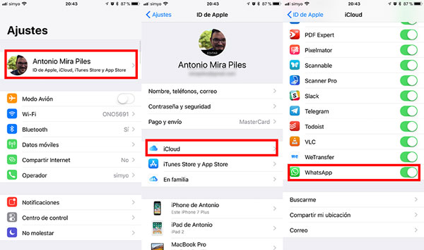como transferir conversaciones WhatsApp al iPhone X backup si no sale