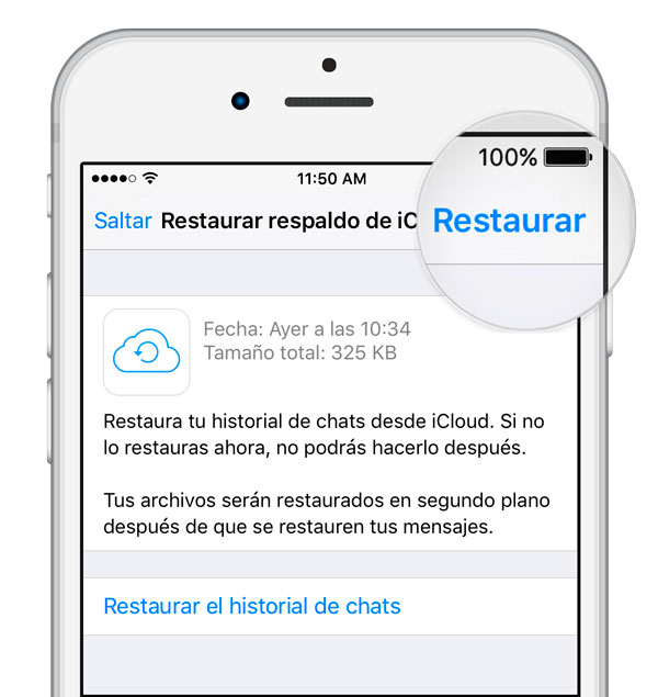 como transferir conversaciones WhatsApp al iPhone X restaurar