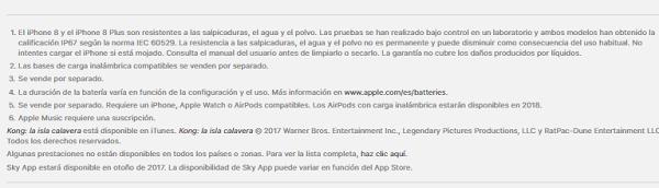 iPhone 8 resistente al agua y al polvo